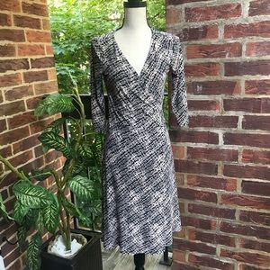 Jones New York Black/ Tan Wrap Dress Size 4P